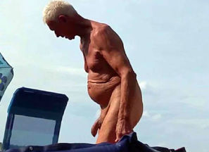 Naturist grandfather at the beach - 2