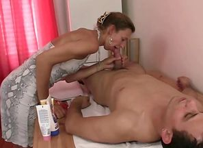 Rubdown leads to oral job and man-meat..