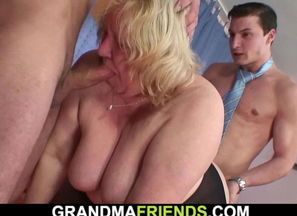 Massive funbags ash-blonde grannie..
