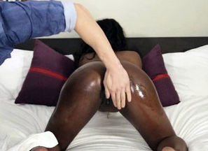 Fondling ebony virgin plowed
