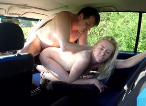Czech escort in car