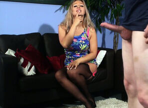 Big-boobed dressed british domme